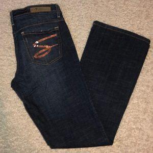 Seven 7 Jeans Denim Flare sequin Size 30 x 32